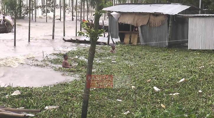 ভোলায় নিচু এলাকা প্লাবিত, ছবি: বাংলানিউজ